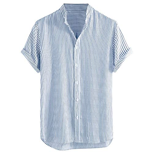 NIUQI Men's Stand Collar Stripe Summer Short Sleeve Loose Buttons Casual Shirt Blouse Blue