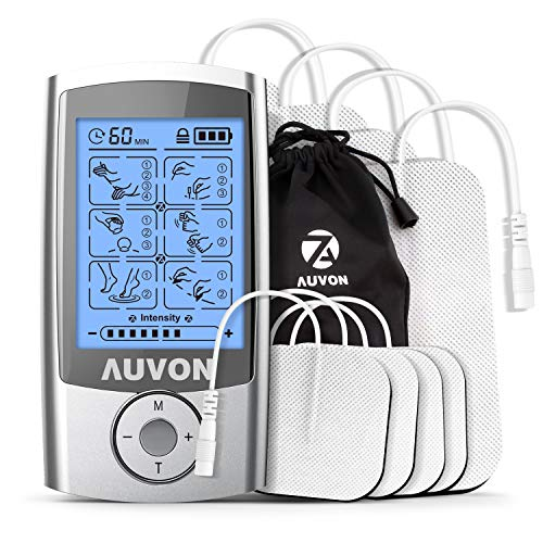 AUVON Rechargeable TENS Unit Muscle Stimulator (FDA 510K Cleared), 2nd Gen16 Modes 2-in-1 EMS TENS Machine with Upgraded Self-Adhesive Reusable TENS Electrodes Pads (2''x2'' 4pack, 2''x4'' 4pack) for Pain by AUVON