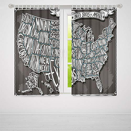 Bedroom Blackout Curtains,USA Map,Living Room Bedroom Décor,American Towns Calligraphy Style City Geography National Artistic Print,66Wx65L Inches]()