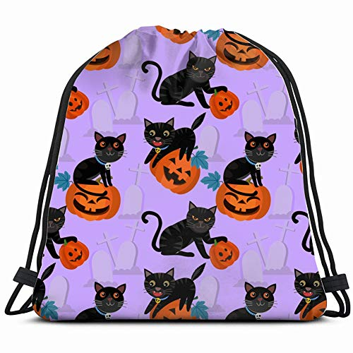 halloween pumpkin black cat pattern holidays Drawstring Bag for Women Drawstring Hiking Backpack Gym Bag for Women 17X14 Inch