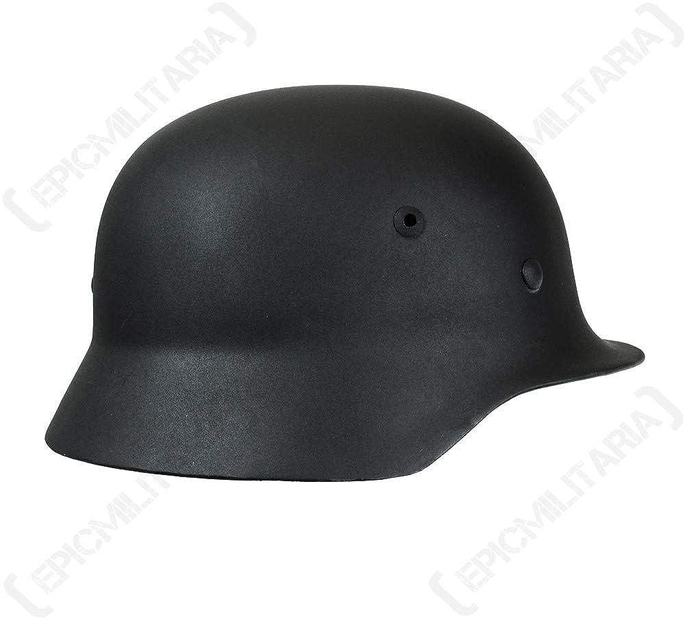 WW2 ejército alemán negro M35 casco de acero de piel con forro y correa de la barbilla: Amazon.es: Ropa y accesorios