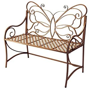 Outdoor Garden Bench with Butterfly Back in Warm Brown Finish