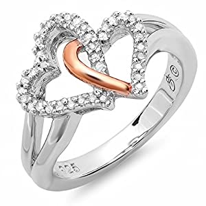 0.15 Carat (ctw) Sterling Silver & Pink Gold Plated Diamond Promise Tangled Double Heart Love Bridal Ring