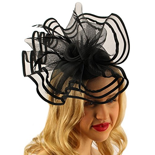 Floral Swirl Net Feathers Fascinators Headband Millinery Cocktail Derby Black ()