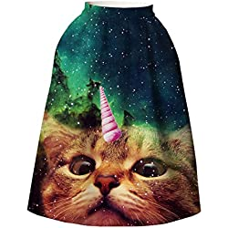 Girls' Flared Pleated Skater Midi Skirt One-horned Cat Knee Length US Size 6-10 (Not Fit Kids)