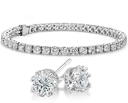 NYC Sterling Cubic Zirconia Crown Stud Earrings and Tennis Bracelet Sterling Silver Gift Set (3 Bracelet Silver Sterling Stone)