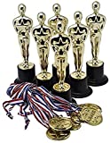 Prextex Gold 6'' Award Trophies (12 Pack) with 12 Gold Winner Medals for Ceremonies or Parties