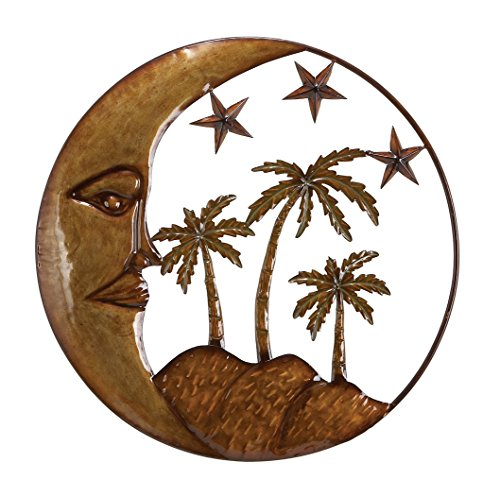 Moon Star Palm Tree 21 Wrought iron metal wall sculpture Decorative arts