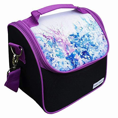 Abstract Boxes - Cute Lunch Bag for Women and Girls Abstract Purple Watercolors, Detachable Adjustable Strap, Leak Proof Lunch Box