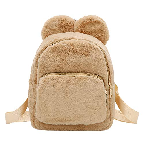 Handbag Plush Women Student WILLTOO School for Tote Bag Crossbody Bag Backpack Travel Khaki Simple qBzEnw7z
