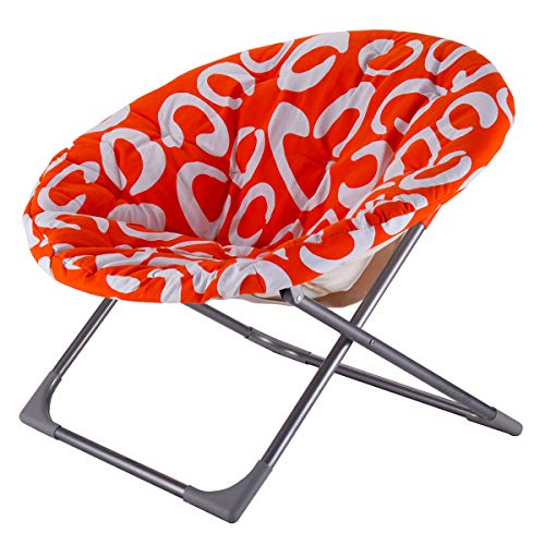 Large Padded Folding Round Moon Chair, 3 Adjustable Position, Sturdy Metal Frame, Practical, Space Saving, Suitable Living Room, Family Room, Multiple Color + Expert Guide by Care 4 Home LLC