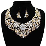 Women Alloy and Crystal Butterfly Necklace and Earring Set Color (Golden)