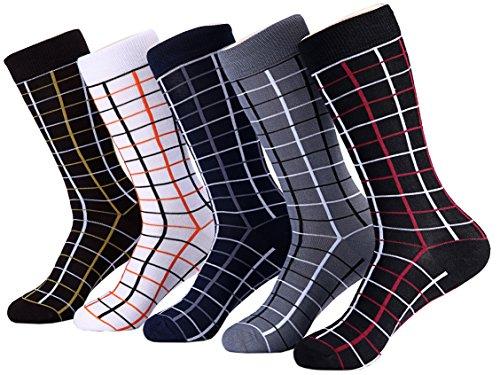 Marino Mens Patterned Dress Socks, Colorful Fun Socks, Fashion Cotton Socks - 5 Pack - Casual Collection - 10-13 - Fashion Dress Socks