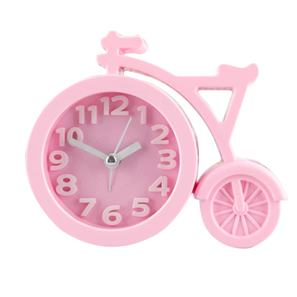 Bicycle Alarm Clock, Operated Quiet Silent No Ticking Beep Sounds, Suitable for Kids Teens Girls Boys Children Bedroom,Battery Operated(Pink