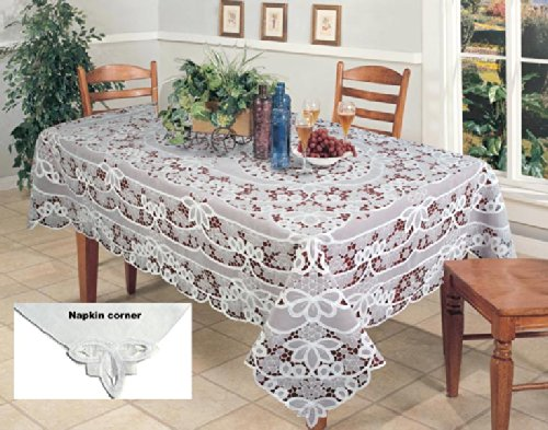 Battenburg Lace with Sheer Fabric Tablecloth Grape Vineyard Harvest Table Cloth 70x120