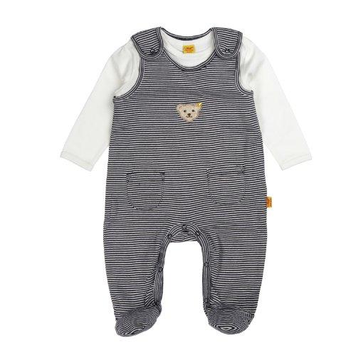 Steiff Unisex - Baby Strampler, gestreift 0006605, Gr. 68, Blau (3032)