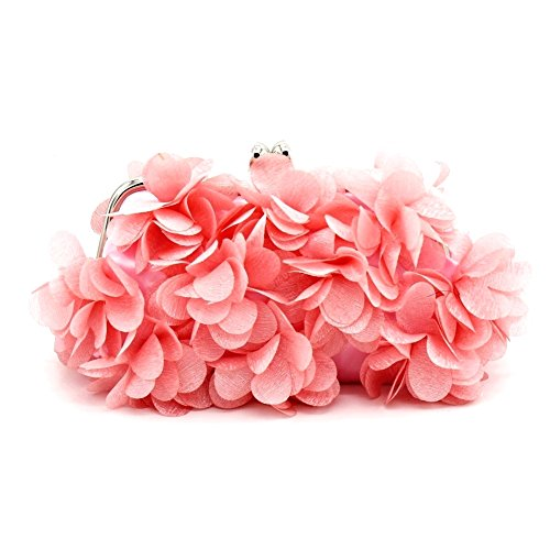 Kingluck Flower Design Satin and Silk Women Wedding Brial Clutch Bag/evening Handbags(more Colors) (pink)