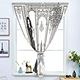 dark grey curtains dunelm Blackout Window Curtain,Free Punching Magic Stickers Curtain,Teen Room Decor,Sexy Fashion Woman in Victorian Palace with Dog Baroque Illustration,Dark Grey White,Paste Style,for Living Room