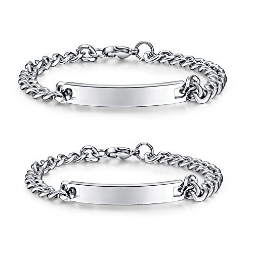 NEHZUS Mens and Womens Custom Engraving Stainless Steel Bracelets Personalized Gift for Couples