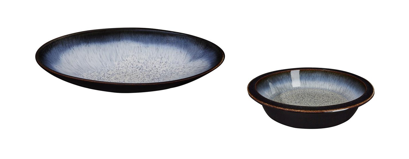 Denby Halo Large Oval Serving Dish and Round Pie Dish, Set of 2