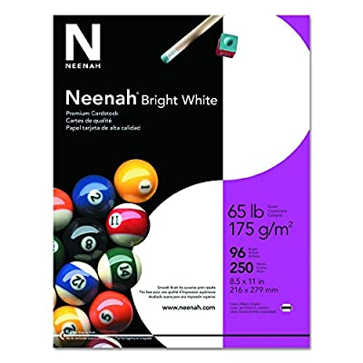 "Neenah Bright White Cardstock, 8.5"" x 11"", 65 lb/176 gsm, Bright White, 96 Brightness, 500 Sheets (91904)"