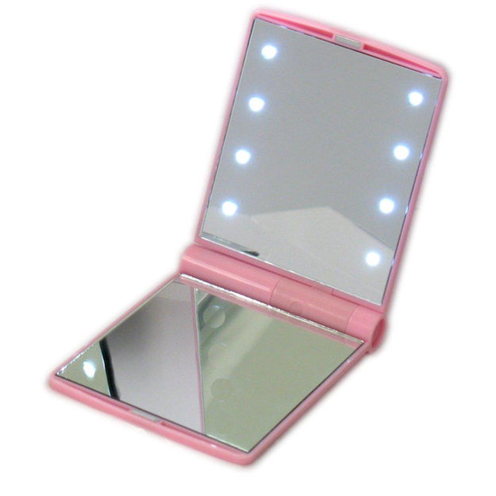 Naisicatar Poche Miroir LED Lumineux Portable Maquillage Miroir De Maquillage CosmEtique 8 LED LumiEres Poche Miroir Double Face Tactile Pliable Miroir De Maquillage EclairE Rose X 1