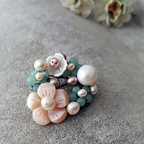 Jenny Wu original design jewelry handmade natural mother pearl brooch pin accessories scarf buckle cardigan shirt
