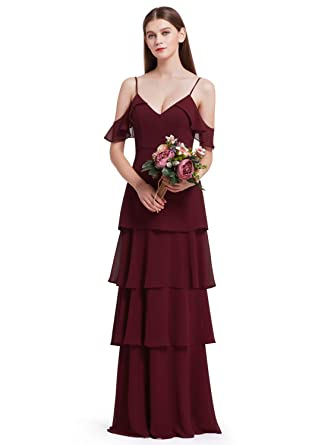 9417eaf78366 Ever-Pretty Women Long Ruffles V Neck Summer Dress Chiffon Tower Dresses  4US Burgundy