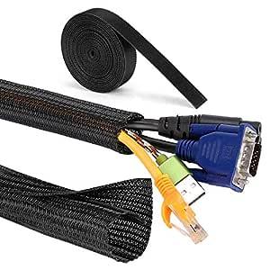 MOSOTECH kabelkanal, 2 x 1,6 m självstängande kabelrör 1 x 3,1 m kabelbindning för TV PC hembio kabelhantering, fritt klippbar och återanvändbar 2x1.6m + 1x3,1m svart