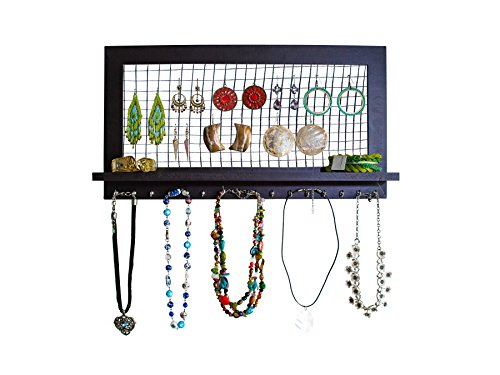 anizer from SoCal Buttercup - Wooden Wall Mounted Holder for Earrings / Necklaces / Bracelets / Accessories (Espresso) (Necklace Jewelry Holder)
