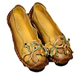 Soojun Women's Leather Casual Loafer Shoes Slip-On Flats with Flower, US 7.5 Style 1-Yellow