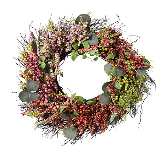 - Ten Waterloo 20 Inch Pink, Purple, Green and Mauve Berry and Eucalyptus Wreath on Natural Twig Base, Artificial Floral