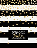 Teacher Lesson Planner Weekly and Monthly Calendar Agenda Academic Year August July Includes Quotes and Holidays Gold Black White Striped 2019 2020