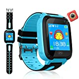 VEAQEE GPS Tracker Kids Smart Watch for Children Girls Boys with Camera SIM Calls Anti-lost SOS Alarm Compatible for ios and Android (Blue(LBS))