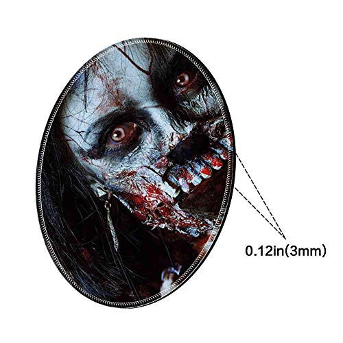 Round Mouse Pad Mousepad with Zombie Decor,Scary Dead Woman with Bloody Axe Evil Fantasy Gothic Mystery Halloween Picture,Multicolor Pattern Gel Rubber for Gaming Office - 200MMx3MM