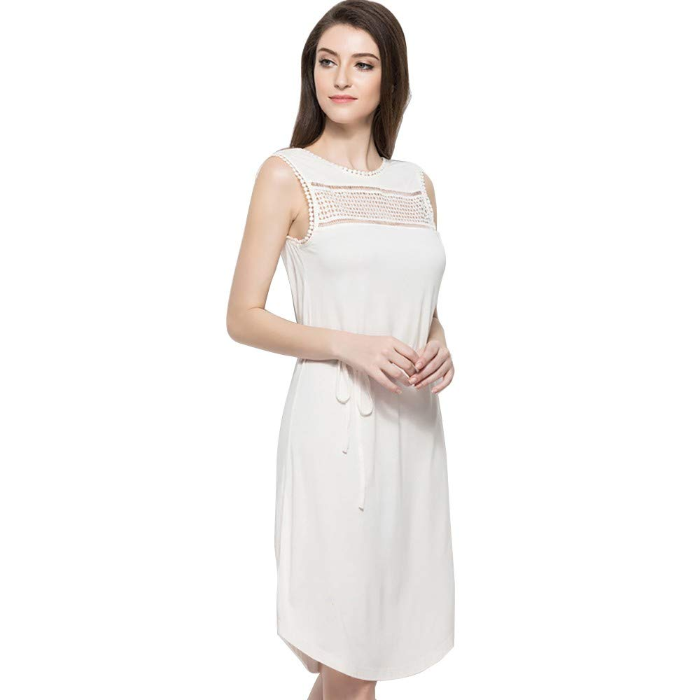 IEasⓄn Women's Knit Thin Casual Home Dress,Fashion Elegant All Season Dress Wearing White