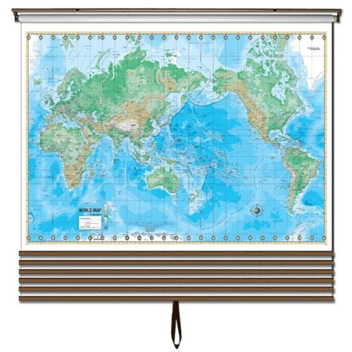 Advanced Physical Wall Maps Set-Roller w/Backboard;7-Map Choices and Mounting Hardware Included