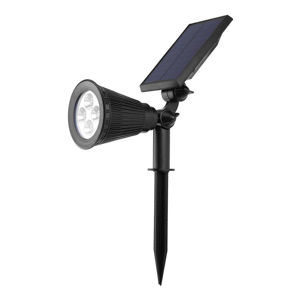 Fdit 4LED Lawn Light Landscape Spotlight Outdoor Solar Powered Plug Light Sensor Lamp for Garden Pathway Courtyard Waterproof(Warm White-2W)