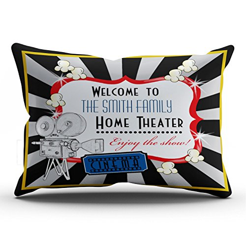 KEIBIKE Personalized Movie Theater Cinema Rectangle Decorative Lumbar Pillowcases Print Zippered Throw Pillow Covers Cases 12x24 Inches One Sided
