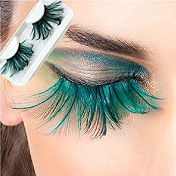 5f1709a589f Image Unavailable. Image not available for. Color: L'asher Green Feather  False Eyelashes Eye Lashes Party ...