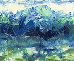 8x10 Abstract Mountains Landscape on watercolor paper in blue and green