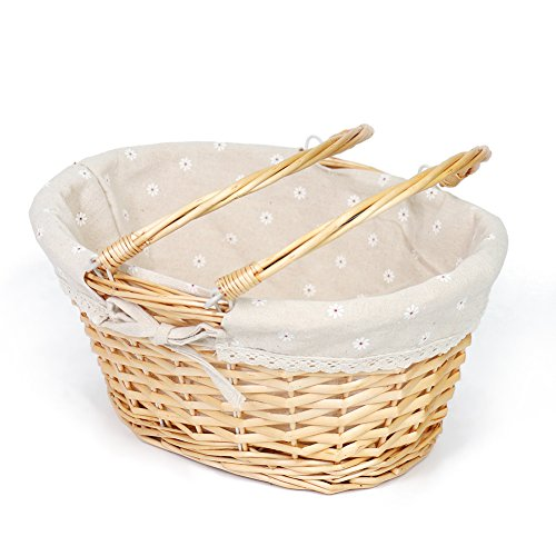 Willow Wicker Basket - MEIEM Wicker Basket Gift Baskets Empty Oval Willow Woven Picnic Basket Cheap Easter Candy Basket Large Storage Basket Wine Basket with Handle Egg Gathering Wedding Basket (Natural)