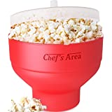 Best Silicone Microwave Popcorn Popper/Maker - Red Collapsible Popcorn Bowl with lid for home - BPA free - for Healthy Homemade Butter & Oil-Free Recipes - by Chef's Area