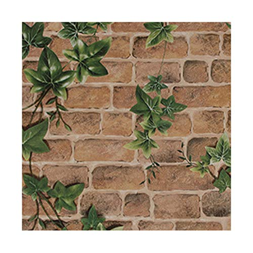 YJZ Boston Ivy In Brick Wallpaper Vinyl Self-Adhesive Film Hard Packing Protection Waterproof Anti-Oil For Home Office Coffee Clothing Shop ()