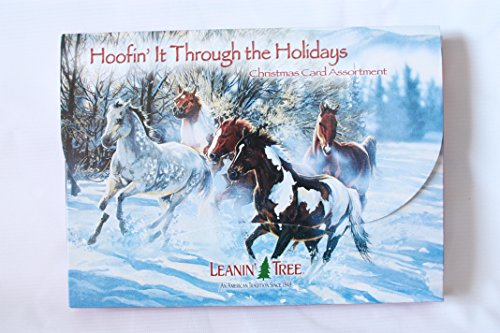 LEANIN' TREE ★ 20 PACK DESIGN CHRISTMAS CARDS ★ HOOFIN' IT THROUGH THE HOLIDAYS ★ MADE in USA ()