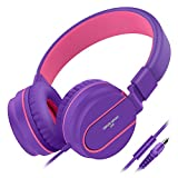 Besom i36 Wired Headphones for Kids,Girls,Boys,Teens,Adults,Stereo Foldable On-Ear Headset for Children with Mic 3.5mm Jack for iPad Cellphones Computer Mp3/4 Tablet School Airplane(Purple/Pink)