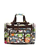 Cheap Owl Chevron Stripe Canvas Duffel Weekender Bag (BROWN)