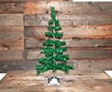 Retro Style Green Christmas Holiday Aluminum Green Tinsel Feather Tree 36''