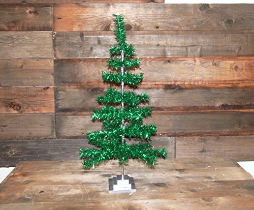 Retro Style Green Christmas Holiday Aluminum Green Tinsel Feather Tree 36