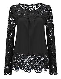 Shinekoo® Women Long Sleeve Plus Size Embroidery Lace Chiffon Tops Autumn Blouse